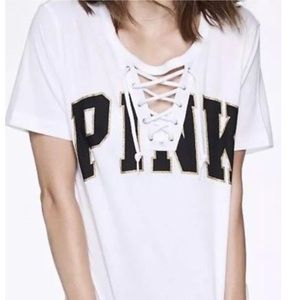 VICTORIA'S SECRET PINK Campus Lace Up Tee NWT